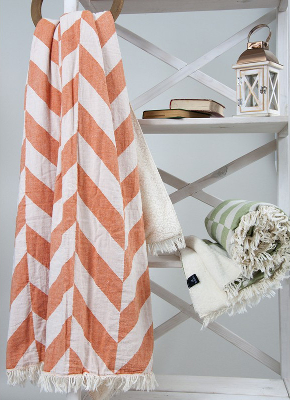 Плед микроплюш Barine Fishbone Throw Orange 125x170